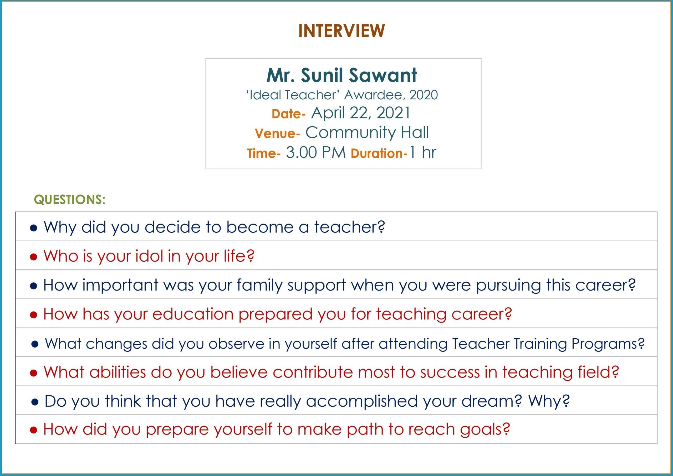 Interview of Ideal Teacher